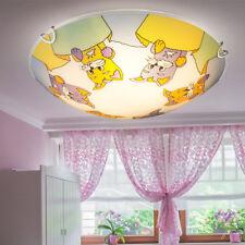 LED Children's Room Glass Ceiling Light Boy Girl Cats Motifs Multicolour Eek A +