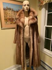 "Natural Stone Marten Sable 48"" Long Full Length Fur Coat Size 6 Small Swing USA"