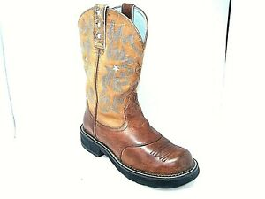 Ariat 16720 Boots SZ 8.5 B Women's Brown Leather Blue Stars Fresh Conditioner