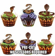 12 PRE-CUT Reptile Snakes Edible Cup Cake Toppers Decorations Birthday Halloween