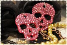 Orecchini in resina teschio rosa con strass rosa applicati a mano*errings skull