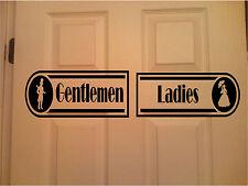 Restroom Sign Wall Sticker Wall Art Vinyl Decals Ladies & Gentlemen Set of 2