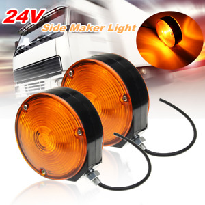 Pair Trailer Truck Lorry Lollipop Earring Amber Mirror Side Maker Lamp Light 24V