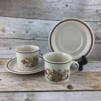 Vintage ROYAL DOULTON GAIETY Coffee Cup & Saucers Brown LS1014 England Set 2