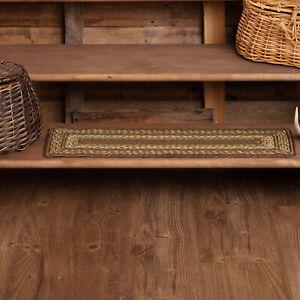 "VHC Brands Rustic 8.5""x27"" Stair Tread Green Tea Cabin Jute Striped Floor Decor"