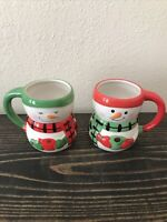 NEW Snowman Holiday Mug Lot Of 2 Green And Red Bay Island Christmas Hot Cocoa