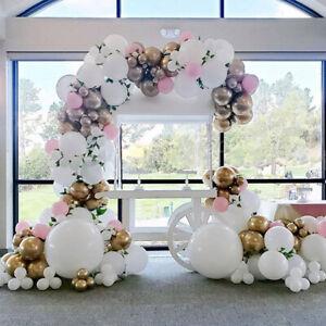 White Balloons Garland Kit Pink Gold balloon Arch Wedding Birthday Party Decor