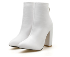 Pointy Block Ankle Booties Womens High Heels Back Zip Up Solid Casual New Shoes