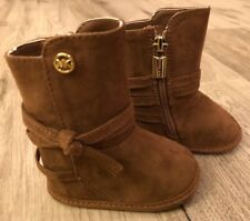 MICHAEL KORS  Infant Girls Size 2 Boots Crib Shoes  Brown Baby Carter 888. NEW!