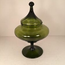 Vtg Empoli Glass Apothecary Jar Dish Circus Tent Lid Green Mid Century