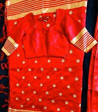 Red Embroidery Silk Saree With Ready Made, Stitched matching Blouse Size-34.