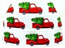 "Grosgrain Ribbon 7/8"" & 1.5"" Merry Christmas Red Truck Evergreen Tree Printed."