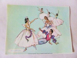 """Genuine Vintage Brownie Downing Ballerina Print, """"Gizelle"""" Colour Picture, 1950s"""