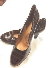 "NEW size 9 SOFFT 3"" Comfortable Brown Patten Leather Alligator style Pumps"