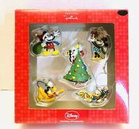 Disney Hallmark Seasons Set Of 5 Mickey Minnie Donald Goofy Pluto Ornaments NIB