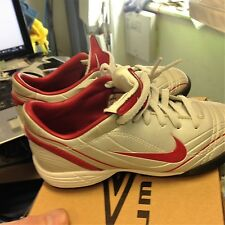 NIKE TOTAL 90 IN SIZE 9.5 OR 10.5.UK AT £10  LEATHER LOOk SILVER /RED KIDS