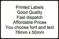 Personalised printed sticky 76 x 51 mm WHITE labels x 500 - you choose text