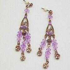 Copper Plate & Lavender Beads Dangle Pierced Stud Earrings