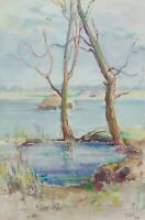 DIEZ, 'Frühling in Mutino', Blick über eine teils geflutete Landschaft, 1943, Aq