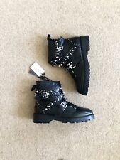 Zara Black Leather Bejewelled Biker Ankle Boots Size UK6 EU39 US8