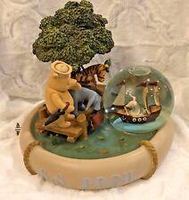 "Walt Disney S.S. POOH 9.5"" Musical Snow Globe Winnie Tigger Eeyore Piglet Dock"