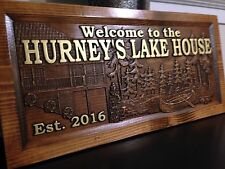 Wood Carved Personalized Lake House Sign. Lake Home Sign, Mountain Lake Sign