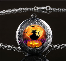 Halloween Cat Photo Cabochon Glass Gun Black Locket Pendant Necklace