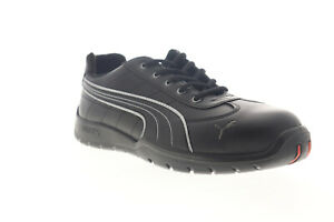Puma Daytona Low 642625 Mens Black Leather Low Top Lace Up Work Boots