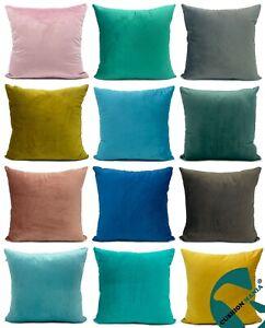 large plain soft thick PLUSH Velvet cushion cover or cushions 12 vibrant colours