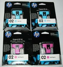 New HP Photosmart 02 Ink Cartridges - Set of 4: 2 lt Cyan & 2 lt Magenta