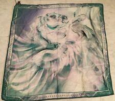 "ROBERTO CAVALLI Silk Horse Print Square Scarf Aqua Green 34"" X 34"" *NWT*"