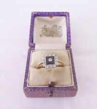 ring, boxed art deco 18ct gold onyx diamond cluster
