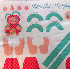Ladybug Doll Fabric Panel Riley Blake Little Lola Pink Sewing Cotton