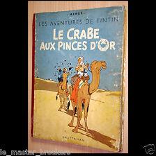Tintin Le Crabe au pinces d'Or  Album Hergé B1 Casterman 1947 BD Vintage