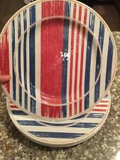 Melamine Dinner Plates Heavyweight Red White Blue Nwt Set Of 4