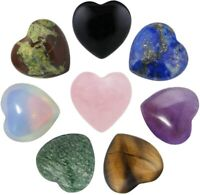 Crystal Worry Stone Carved Puff Heart Love Pocket Stone Healing Reiki for Chakra