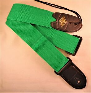 RotoSound Green Nylon Guitar Strap with Leather Ends