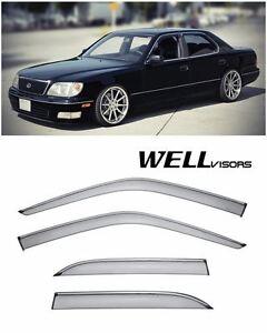 For 95-00 Lexus LS400 WellVisors Side Window Visors W/ Chrome Trim