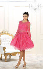 LONG SLEEVE HOMECOMING PROM SHORT FLOWY EVENING DRESS COCKTAIL PARTY GRADUATION