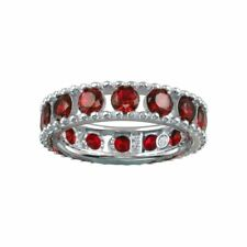 ETERNITY WEDDING BAND W/ LAB CREATED RUBY GEMS / 925 STERLING SILVER / SZ 5-9