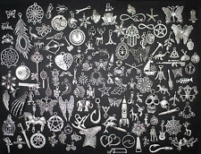 100 Different Types Tibetan Silver Retro Style Charm Pendants Craft Jewellery