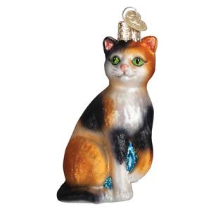 Old World Christmas CALICO CAT (12399)N Glass Ornament w/ OWC Box