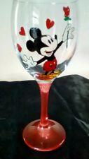 Mickie Mouse Rojo Rosa Corazones Grandes Pintado a Mano Copa De Vino Reino Unido