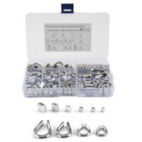 For Wire Rope Cable Thimbles Rigging M2/3/4/5 Thimble + Crimping Loop Sleeve Kit
