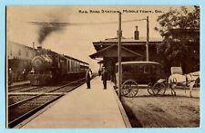 1910 MIDDLETOWN DE Railroad Station w/ Horse Drawn Wagon RR Depot DELAWARE