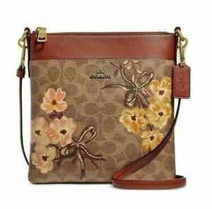 Coach Prairie Coated Canvas Crossbody Tan/Brass Floral Messenger Bag Handbag NEW