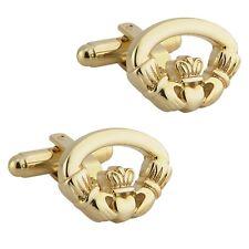 New Mens Gold Irish Celtic Claddagh Cufflinks Gift Boxed Men's Jewellery