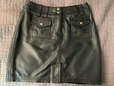 INC International Concepts Black Leather Short Skirt Size 6 Lined