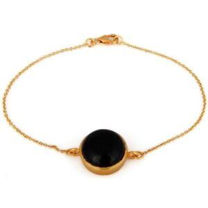 Black Onyx 18K Gold Plated 925 Sterling Silver Bracelet Gemstone Jewelry
