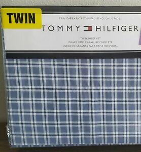 Tommy Hilfiger Blue White Plaid Twin Sheet Set New